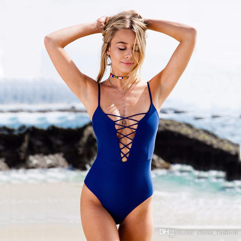 2017 2017 Ladies Strappy One Piece Swimsuit Black Red Blue Plus ...