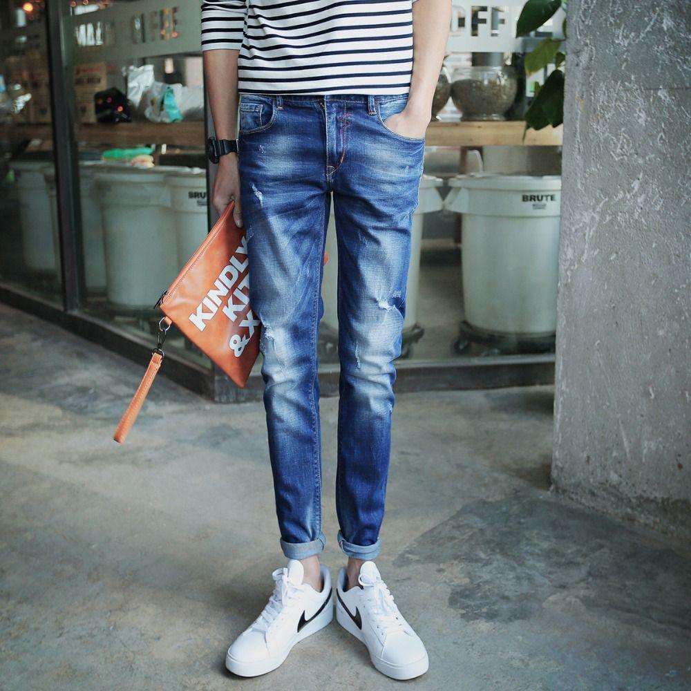 2017 Wholesale 2016 Male Blue Skinny Jeans Men'S Clothing New Boy ...
