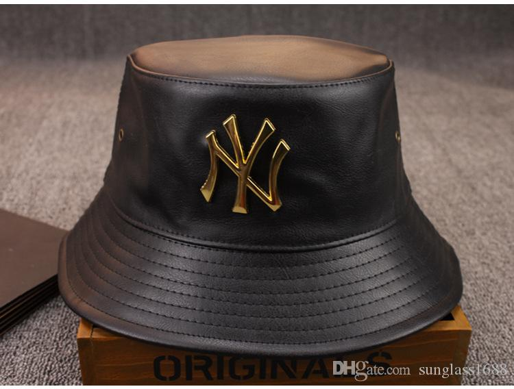 2017 fashion designer leather ny bucket hat for mens for Fishing hats for sale