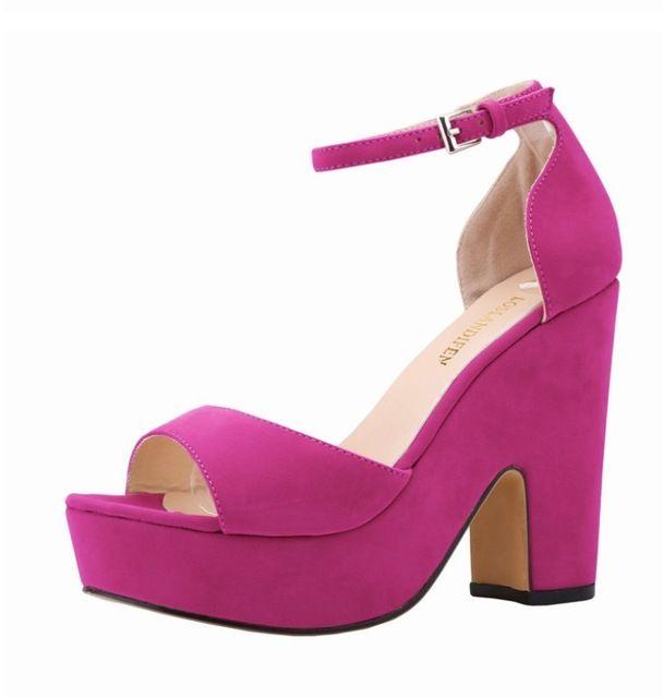 Purple Chunky Platform Heels Online | Purple Heels Chunky Platform ...