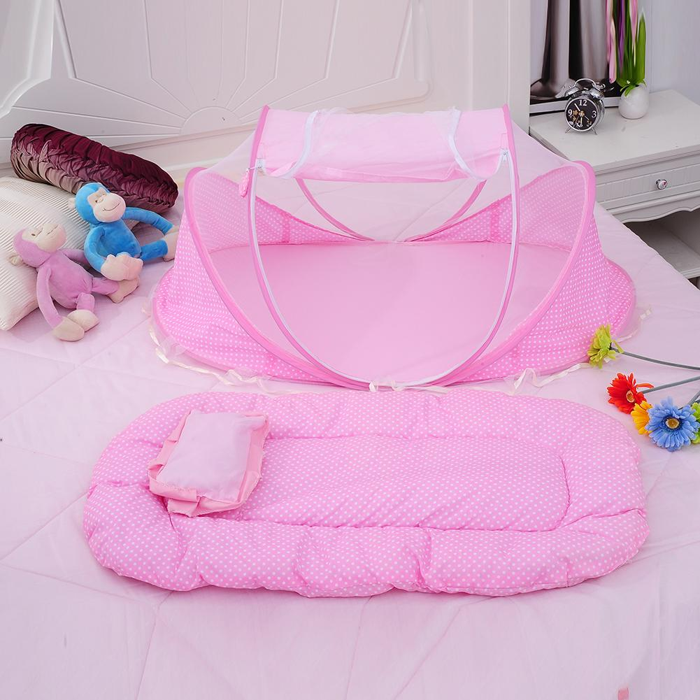 Crib alternatives for babies - Wholesale Baby Bedding Crib Netting Folding Baby Music Mosquito Nets Bed Mattress Pillow Three Piece Suit For 0 2 Years Old Children Crib Replacement