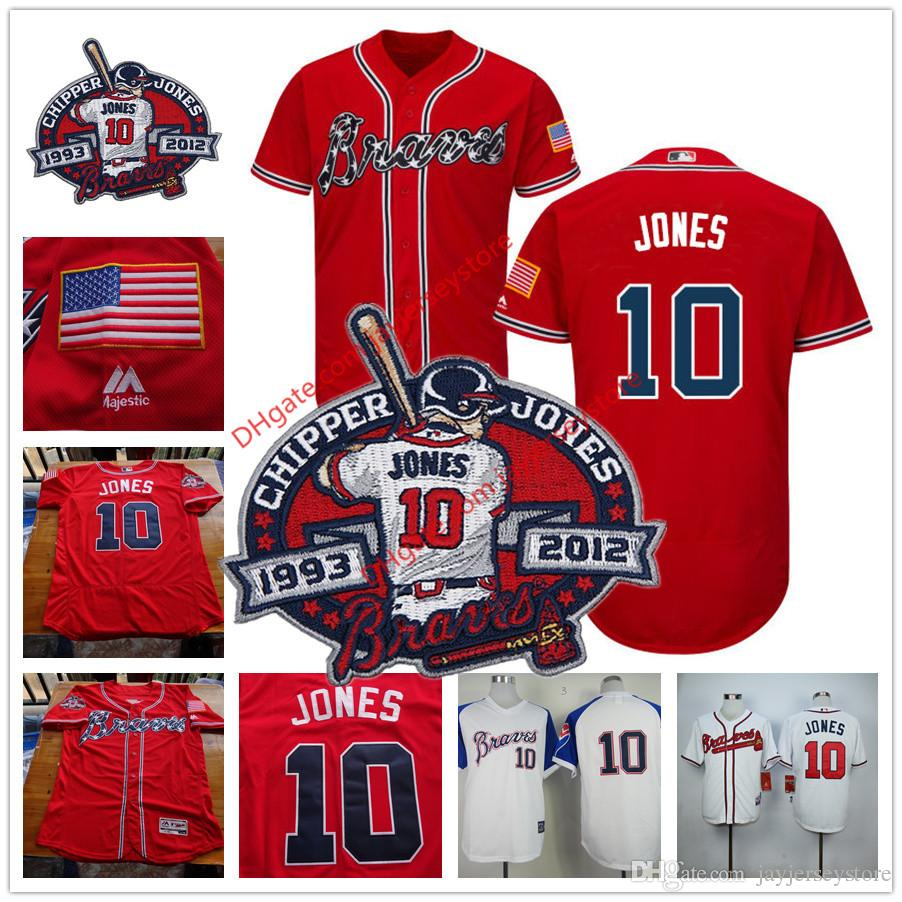 Maillot Chipper Jones avec Patch de Retraite Atlanta Braves Stitched Cool Base R