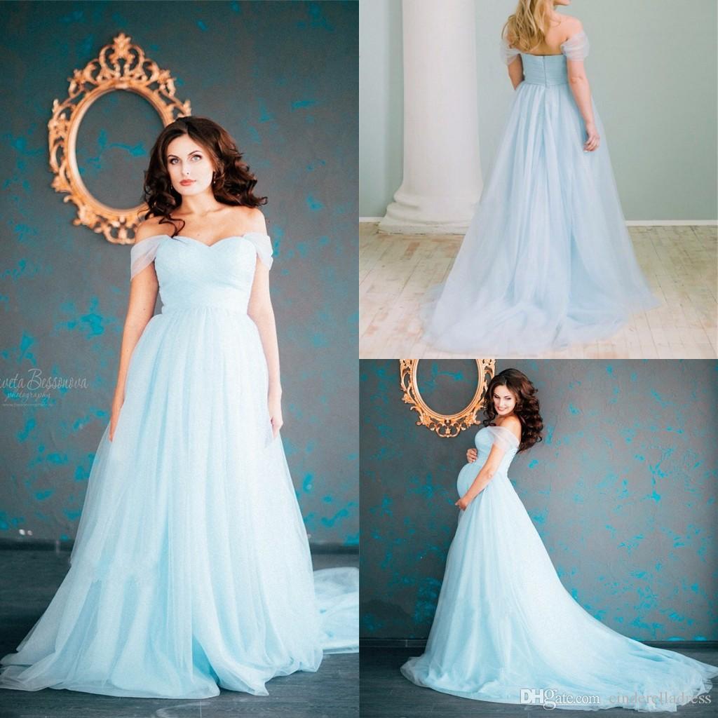 2017 romantic light blue off the shoulder a line cheap for Light blue beach wedding dress