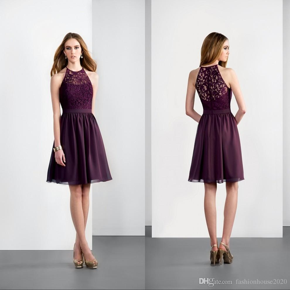 Modest purple lace short bridesmaid dresses 2017 halter neck cheap modest purple lace short bridesmaid dresses 2017 halter neck cheap chiffon country bridesmaids dress sexy wedding party gowns custom made bridesmaid dresses ombrellifo Image collections