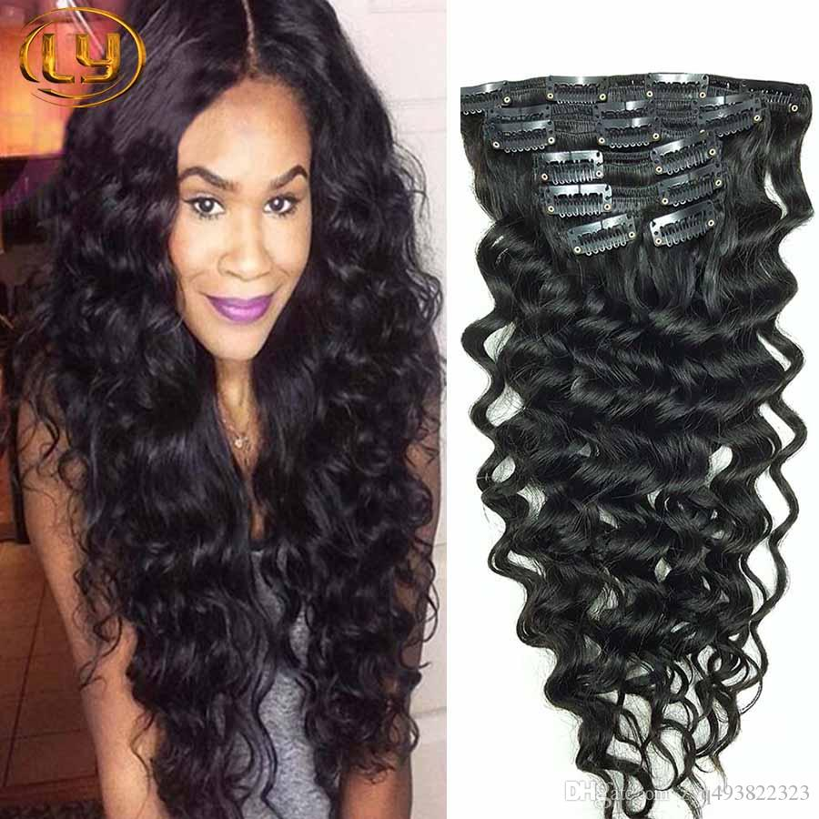Human hair clip in deep curly extensions wave
