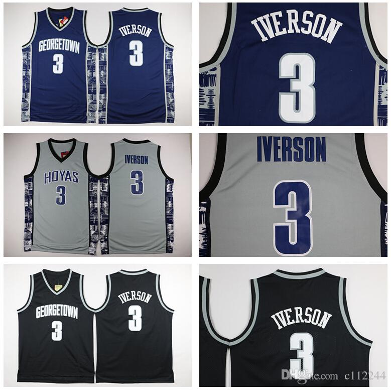 Georgetown Hoyas College 3 Allen Iverson Jersey Université Tean Black Blue Grey