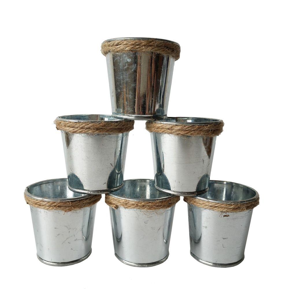 silvery meat plant pot tin pail succulent planter mini flower buckets with hemp rope tin box galvanized planters mini succulent planters mini succulent
