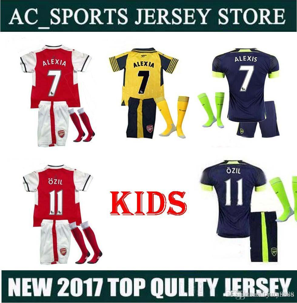 2016 2017 enfants Arsenals Soccer Jerseys Away Yellow OZIL Football kit + chauss