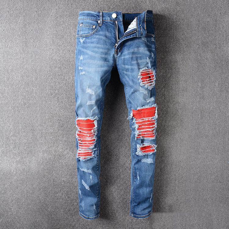 moto ripped jeans. distressed ripped jeans for men brand designer justin bieber motorcycle moto biker denim men\u0027s slim pant rock star punk hip hop mens black