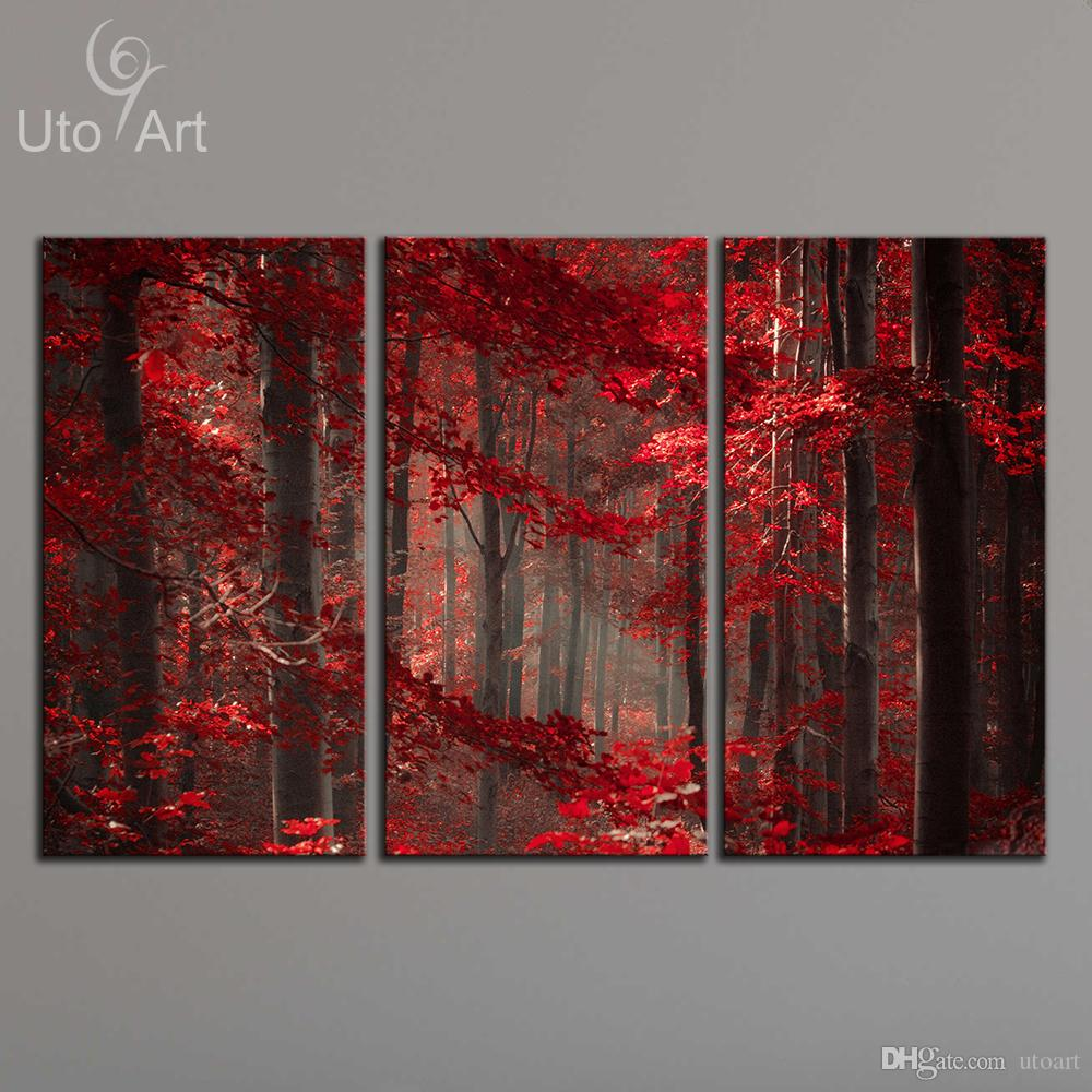 Modern Art Paintings For Living Room 2017 Morden 3 Panel Wall Art Painting Red Enchanted Forest Giclee