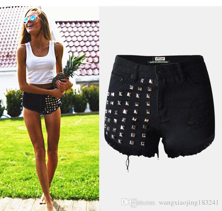 New Brand Skinny Ripped Black High Waisted Denim Shorts Womens ...