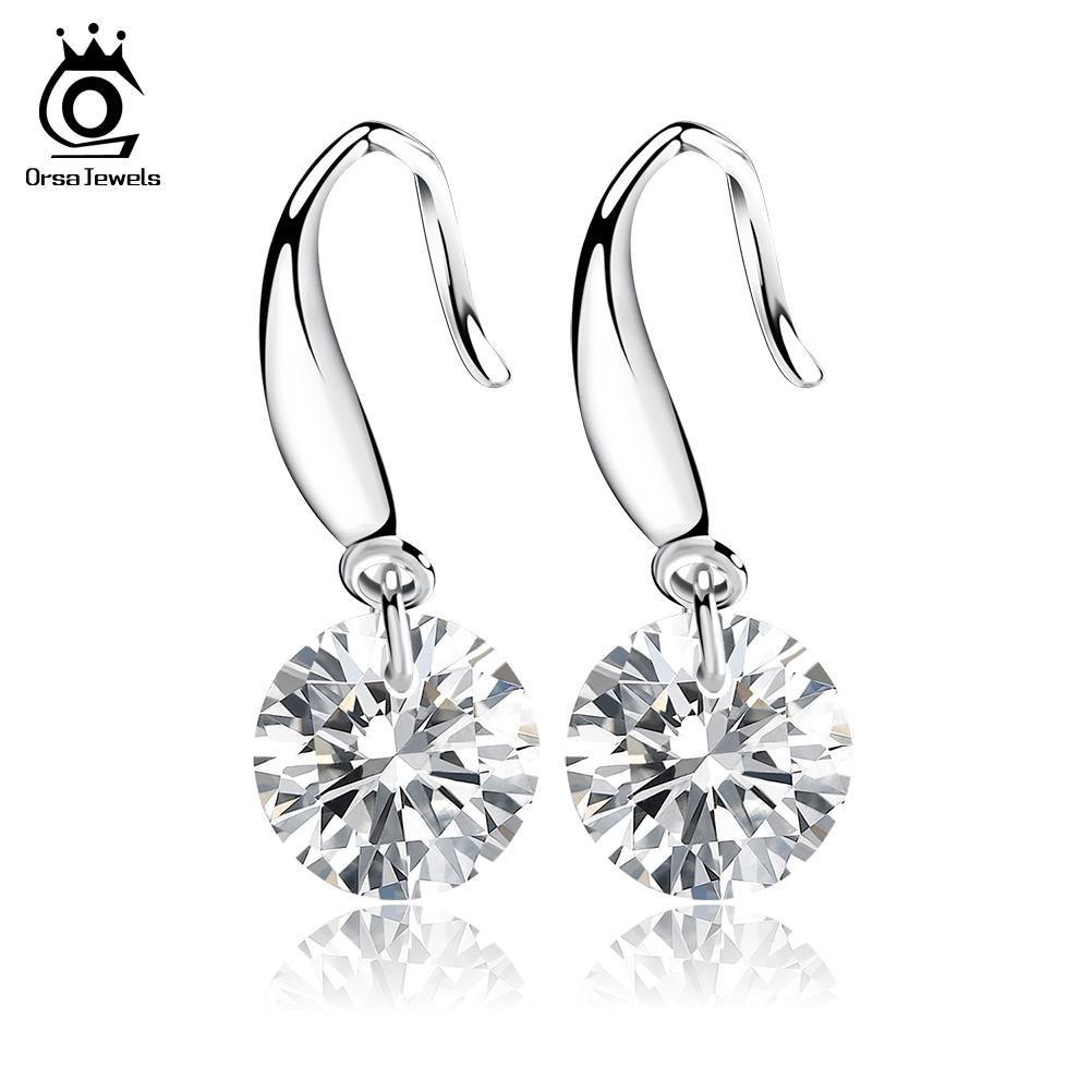 Orsa Jewelry Fashion Naked Drill Earring,925 Sterling Silver Material,Genuine Austria Crystal SWA Elements OE05