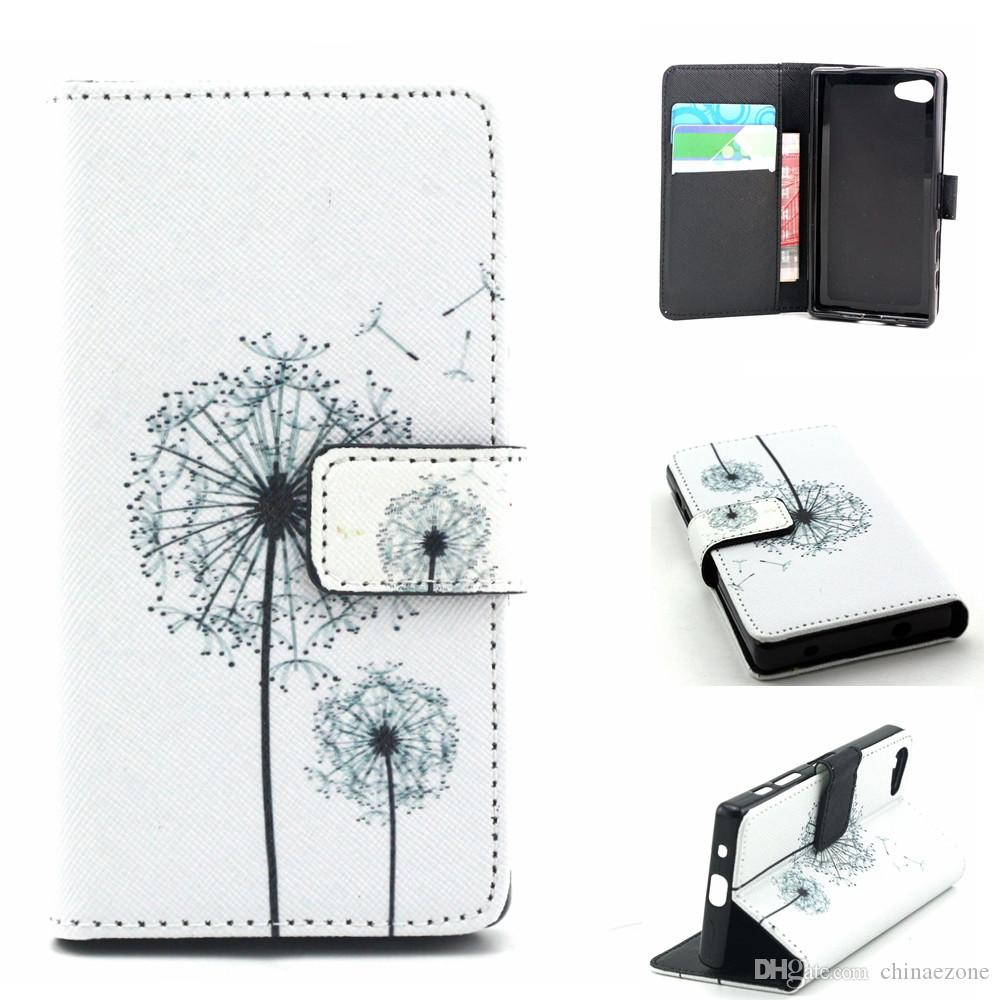 Blanc pissenlits Design PU cuir Flip Stand Wallet Card Holder Housse Etui Housse