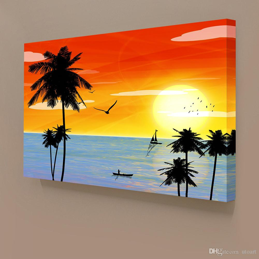 Living Room Canvas Paintings 2017 Sunset Landscape Hawaii Seascape Canvas Painting Home Decor