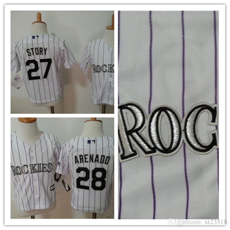 toddler colorado rockies 27 trevor story white home cool base jersey stitched 28 nolan arenado colorado colorado rockies womens