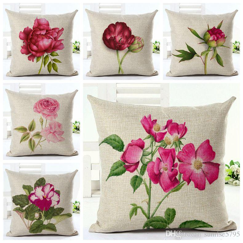 pink floral throw pillow case for sofa chair bed fuchsia flowers cushion cover peony almofada garden - Bed Pillow Chair
