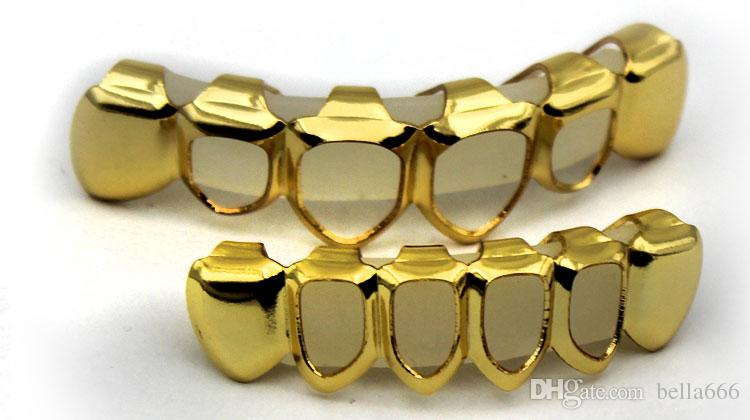 GOLD PLATED COUPE GRILLZ TOP BOTTOM HIPHOP DENTS SET GRILL Avec la mode de silic