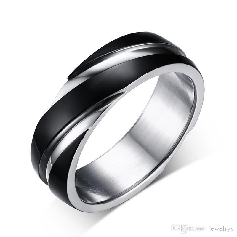 European Style Men Band Ring Punk Titanium Finger Rings Stainless Steel Fashion Jewelry Gift For