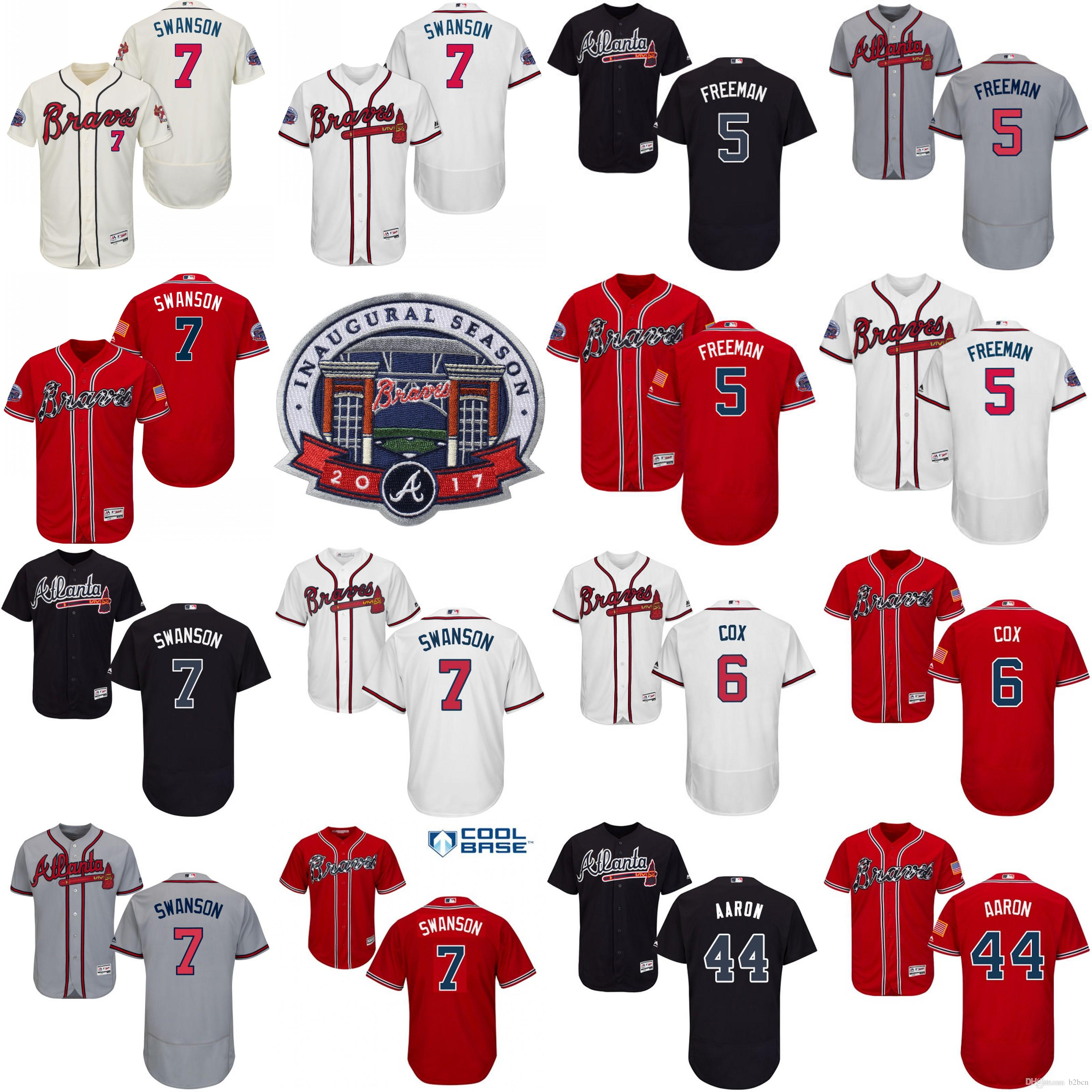 2017 Patch commémoratif Atlanta Braves Hommes # 7 Dansby Swanson 5 Freddie Freem