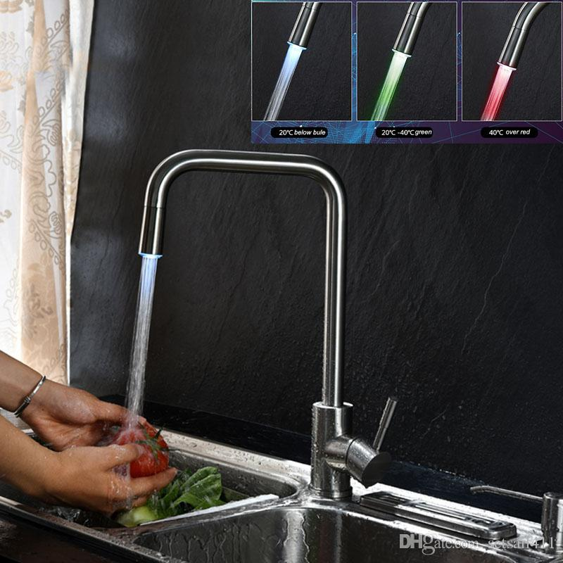 LED Kitchen Faucet Temperature Control Color 304 Stainless Steel Brushed  Surface Faucet Hot And Cold Mixed Water Kitchen Tap LED Kitchen Faucet  Brushed ...