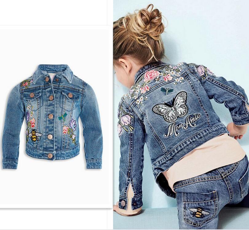 Baby Girls Denim Jackets Coats Fashion Long Sleeves Embroidery ...