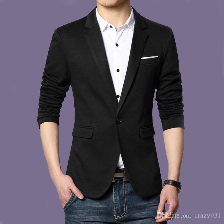2017 New Arrival Men'S Blazer Slim Fit Jackets Black Suit Top ...