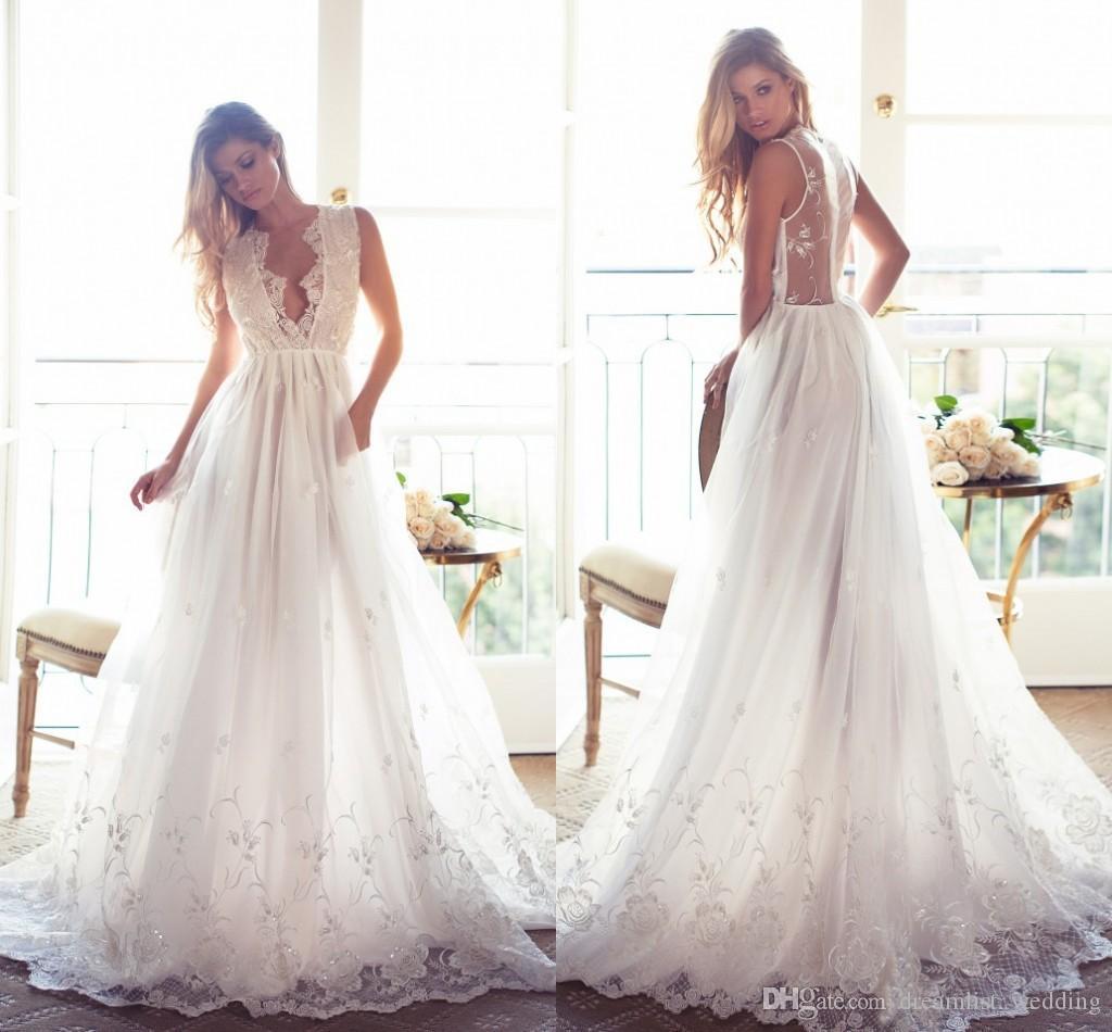 2017 New Fashion Cheap Sexy Wedding Dresses Beads Sequins V Neck ...