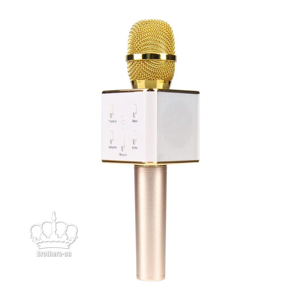 Q7 bluetooth Microphone Portable sans fil Karaoke Handheld Condensateur Microphone avec haut-parleur pour iPhone 6 6s 7 / iPad / Samsung Smartphones