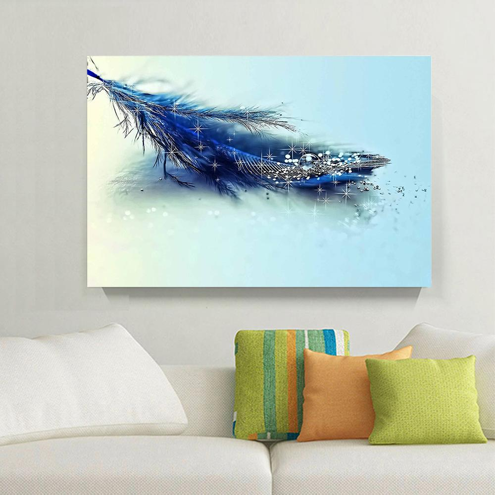 2017 1 Panels Hd Blue Feather Amp Diamond Painting Home