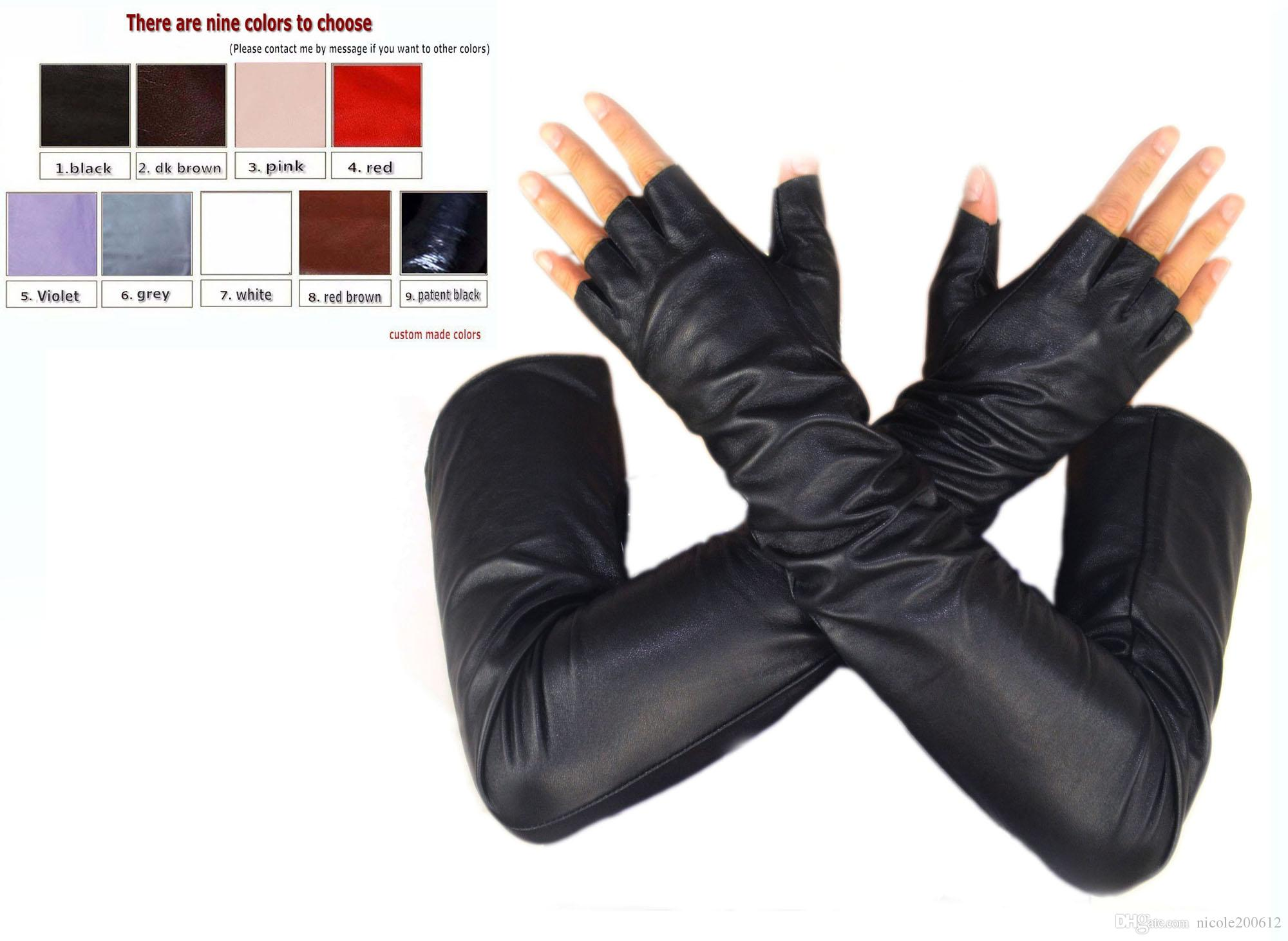 Black leather gloves with coloured fingers - Custom Made 30cm To 80cm Long Half Finger Fingerless Style Top Quality Real Leather Gloves