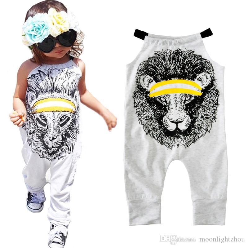 Girl Rompers Summer Cartoon Lion Print Boy Jumpsuit For