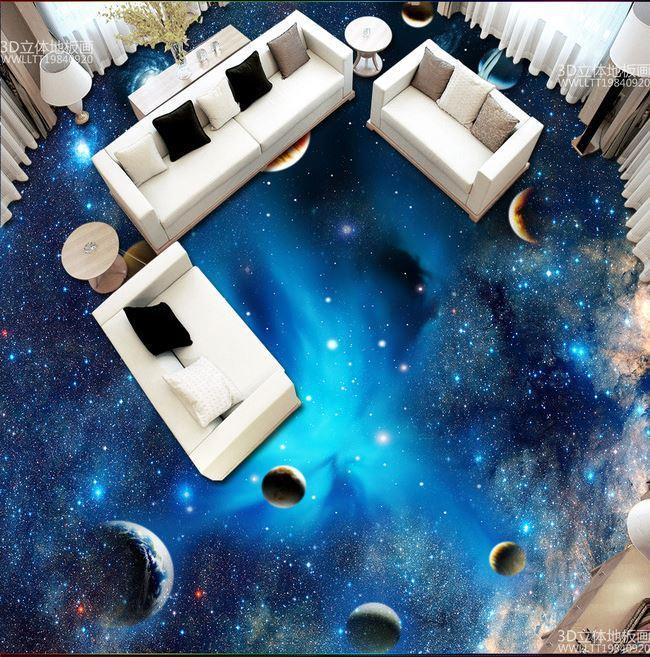 Custom Space Star Planet 3d Floor Wall Painting Bedroom