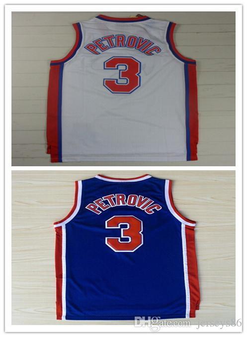 ... 3 Drazen Petrovic Jerseys Basketball Unfiorms Cheap Throwback Drazen  Petrovic Shirts Home Road Alternate Blue White ... b43fb945c