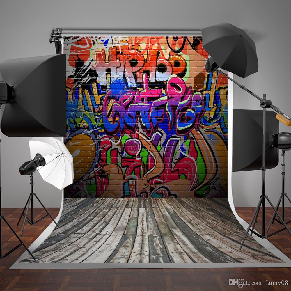 Broken wall graffiti - 5x7ft150x220cm Graffiti Wall Photography Background Colorful Letters Brick Wall Photo Backdrop Gray Wood Floor Backdrops Graffiti Wall Background Retro