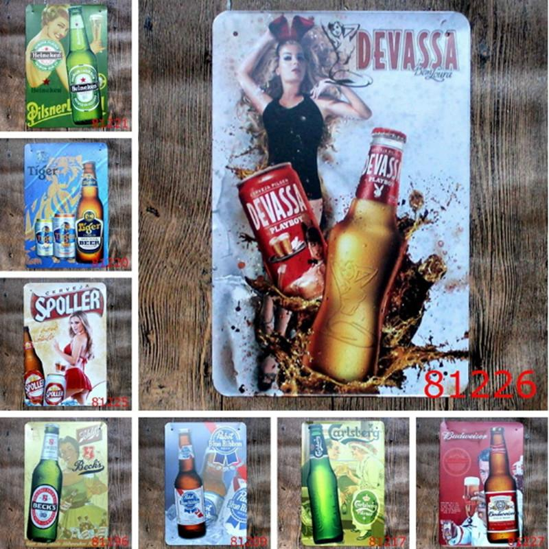 Beer Wine Metal Painting Tin Sign Bar Pub Home Wall Retro Mural ...