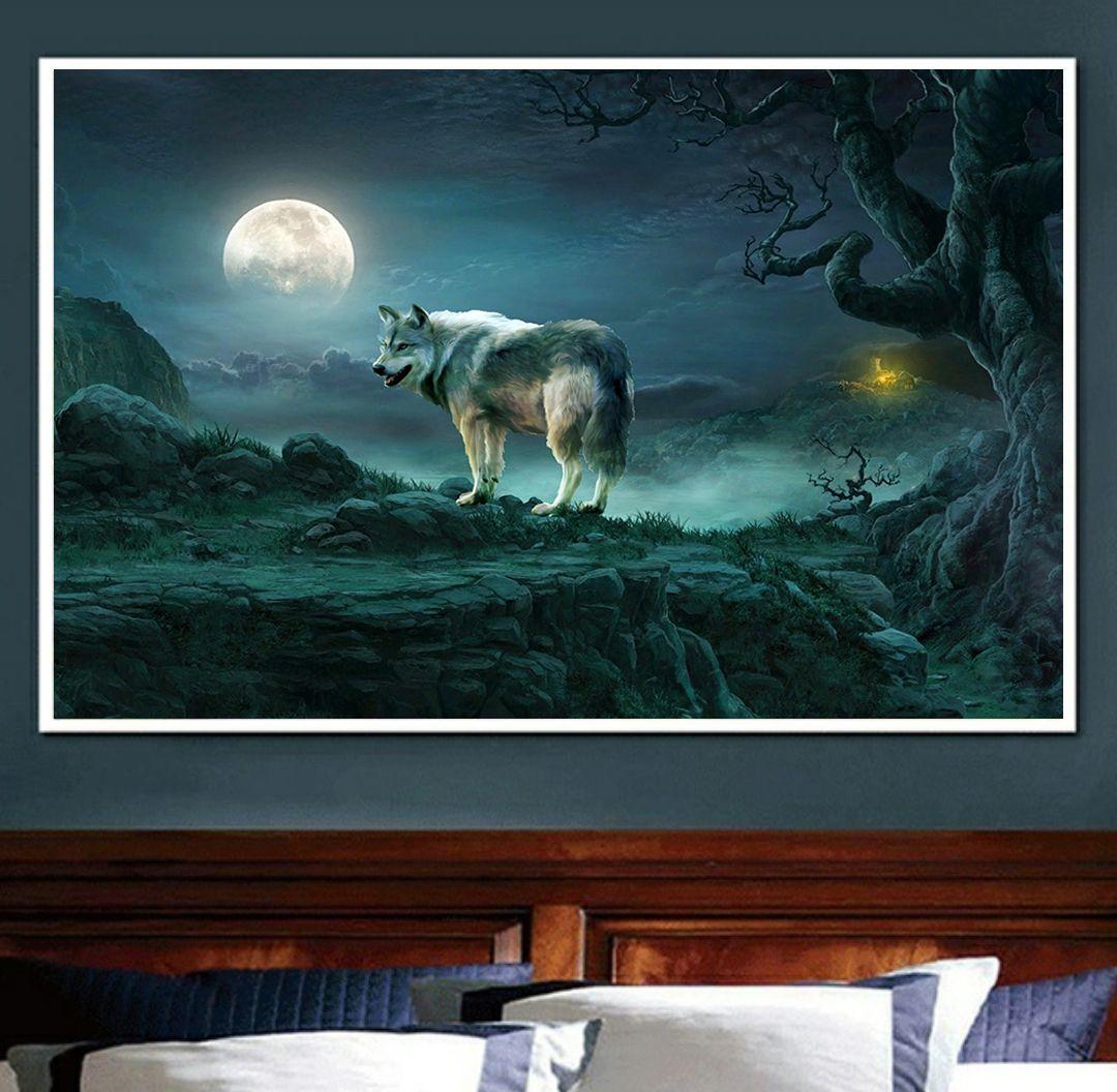 Moon Night Wolf Mountain Landscape Diamond Embroidery 5d