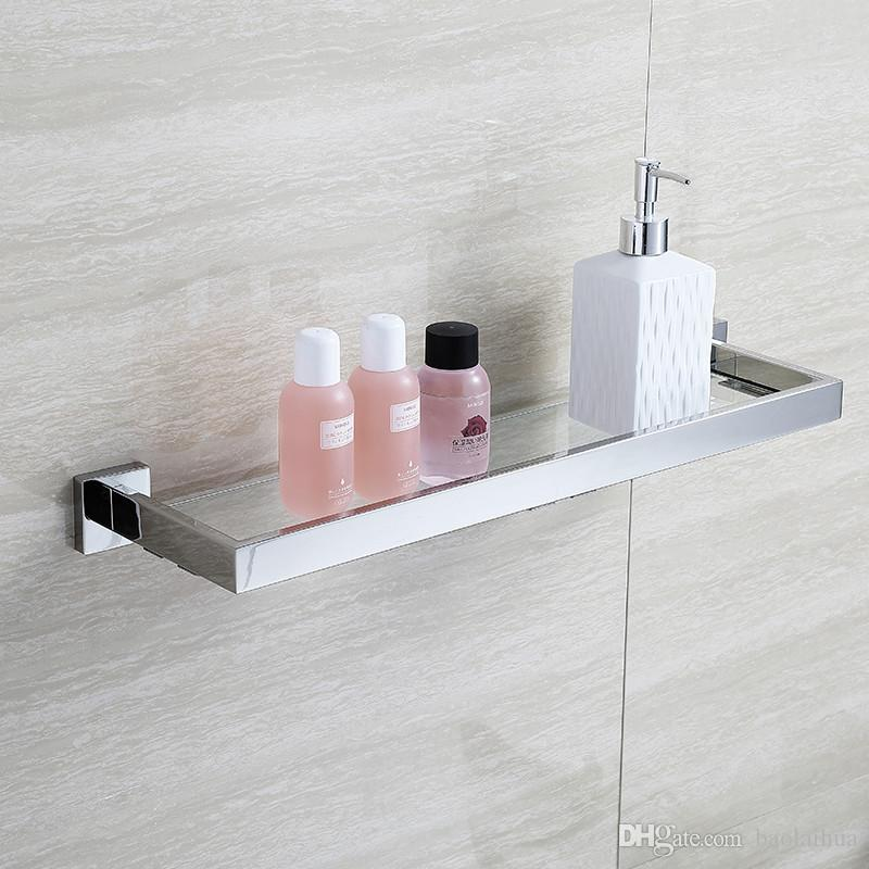 Bathroom Accessories Glass Shelves blh81805 glass bathroom shelves shampoo holder stainless steel