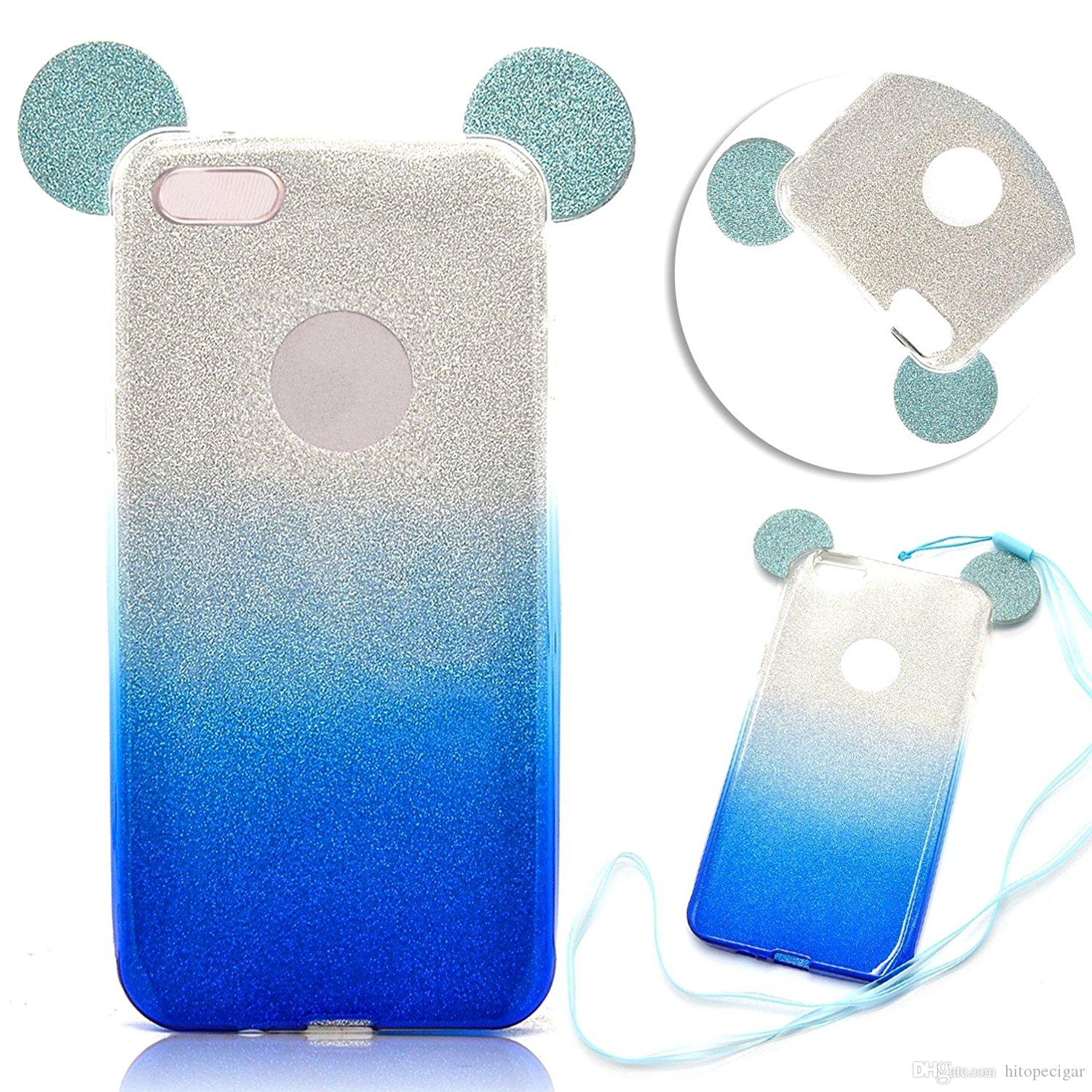 Color change online - 3d Minnie Mickey Mouse Ears Silicone Tpu Soft Glitter Gradient Case Gradual Change Color With Hang Rope For Iphone 5s 6 6s Plus 7 7plus