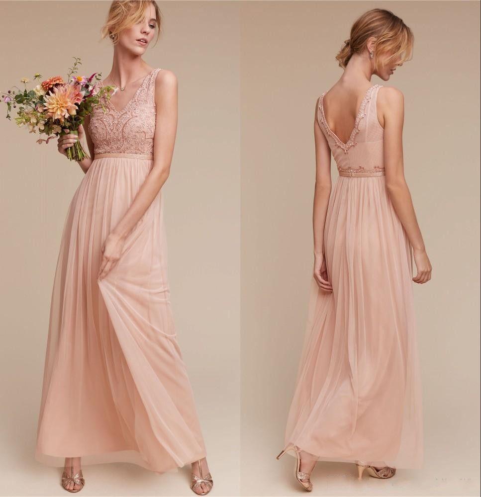 Blush Low Back Wedding Dress : Cheap vintage blush chiffon bridesmaids dresses v