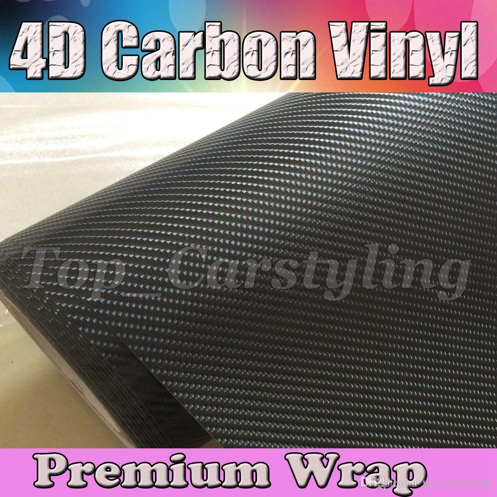 Premium Black 4D Fibre de Carbone VINYL WRAP STICKER AIR BUBBLE VÉLO DE VOITURE
