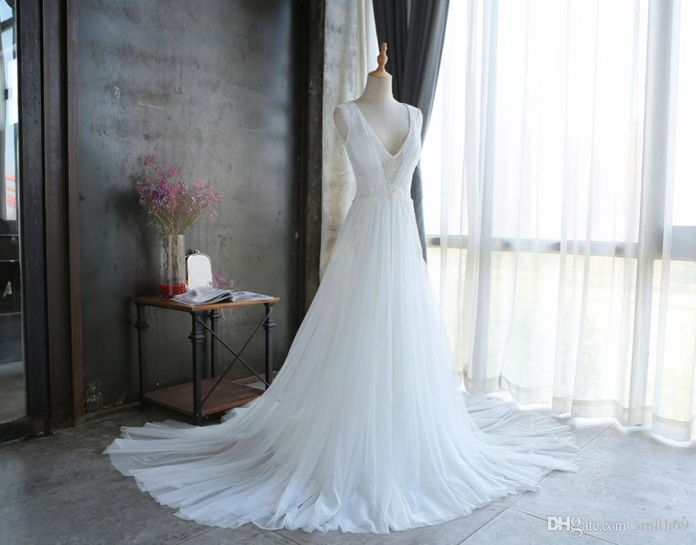 Discount real picture simple 2017 wedding dresses a line v for Real simple wedding dresses