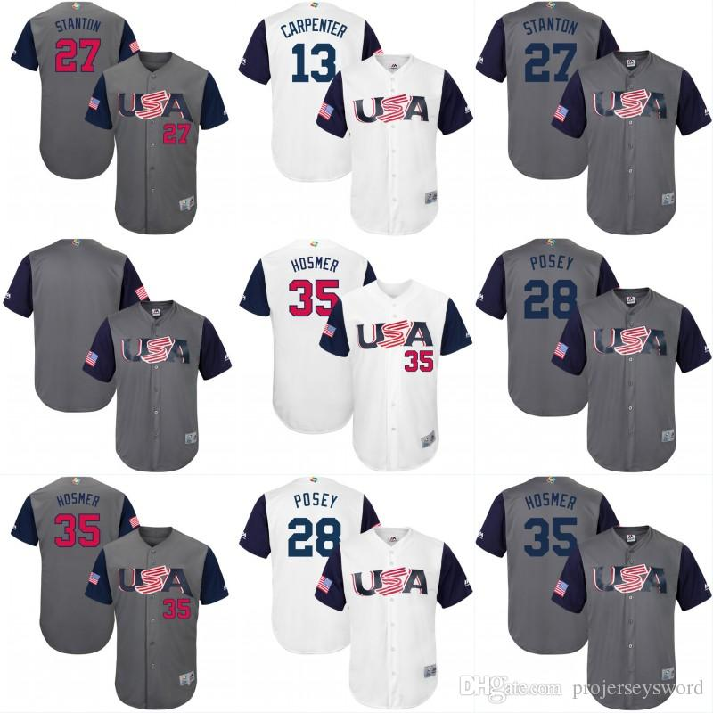 2017 USA World Baseball Classic WBC Jersey 10 Adam Jones 24 Andrew Miller 28 Bus
