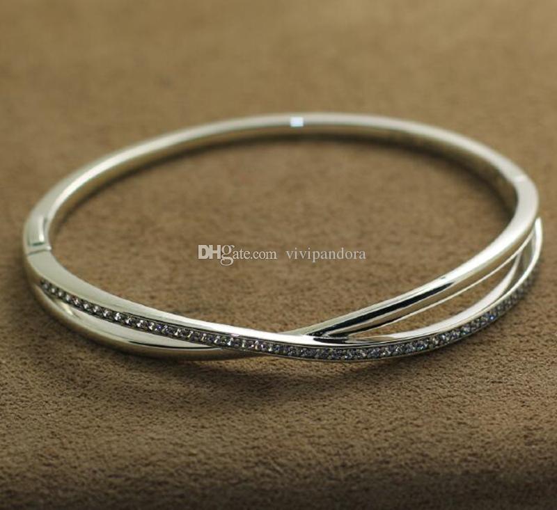 New 925 Sterling Silver Bangle Bracelet Entwined Bangle