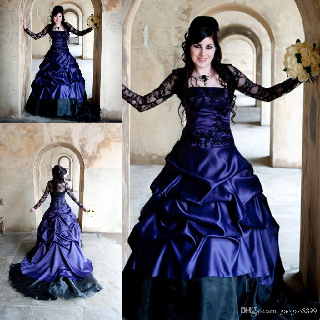 White and purple gothic wedding dresses