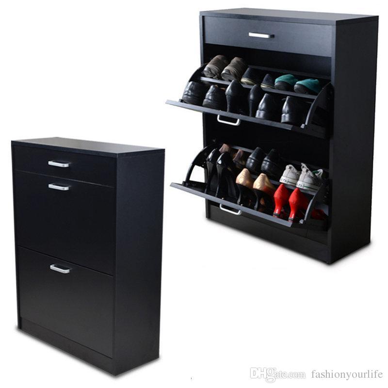 Black Wood Shoe Cabinet Shoe Closet Rack Organizer With