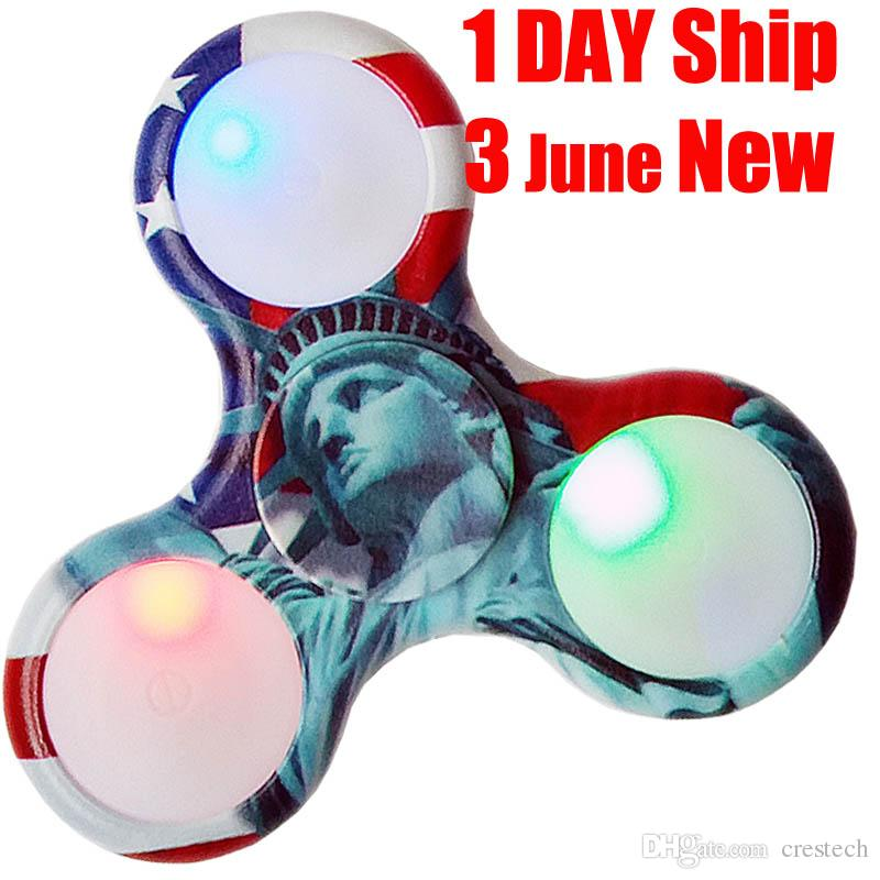 Newsest USA Color LED Spinner à main en plastique LED Spinners à main Finger Fin
