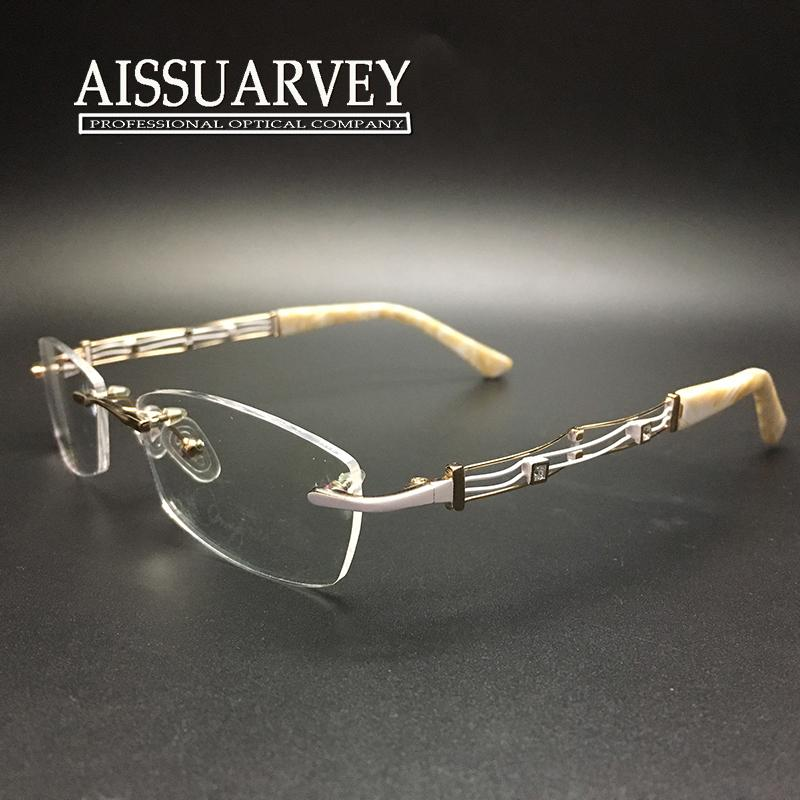 Rimless Eyeglass Frames Problems : 2017 Women Glasses Frame Rimless Eyeglasses Optical Brand ...