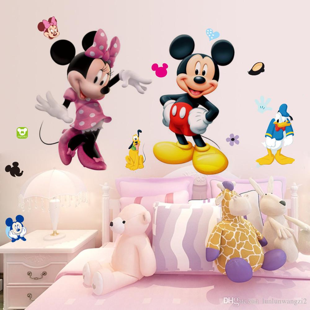 Minnie Mouse Wallpaper For Bedroom Small Decor Cartoon Mickey Minnie Mouse Girls Gift Kids Art Baby