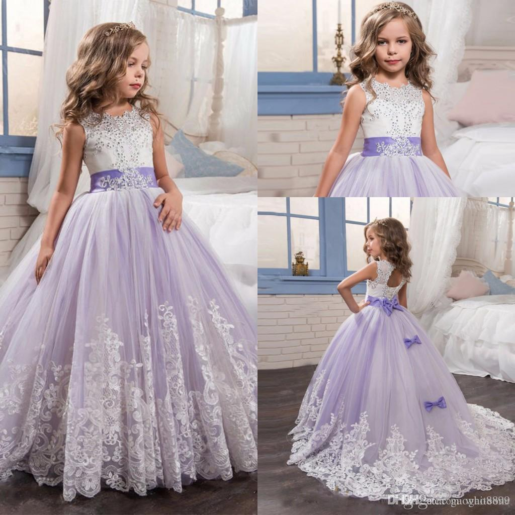 Lilac Tulle Sleeveless Lace Flower Girl Dresses For Wedding With Bow Ball Gow