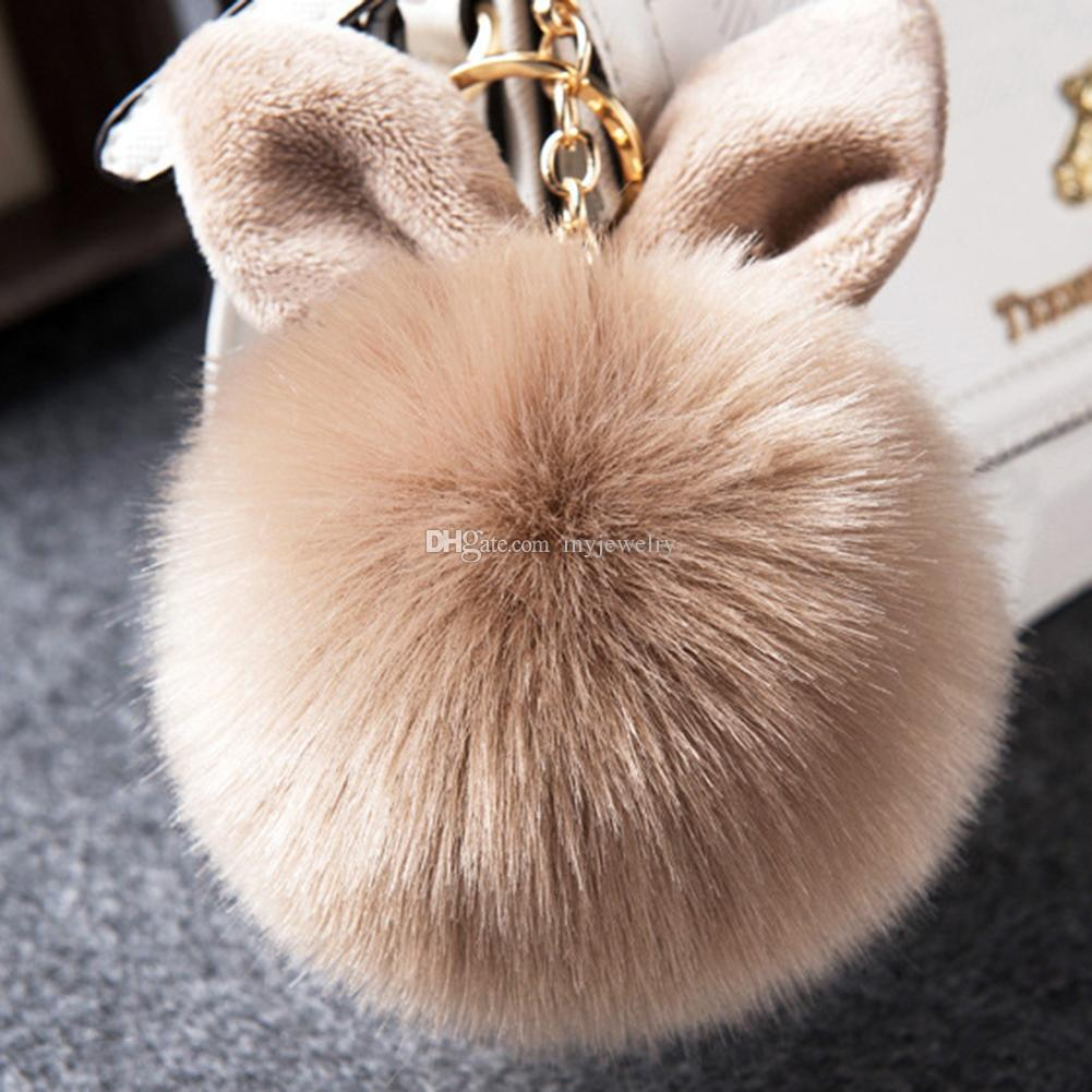 2017 Multicolor Faux Fox fourrure Pompom Keychain Fluffy Lapin oreille Ball Key